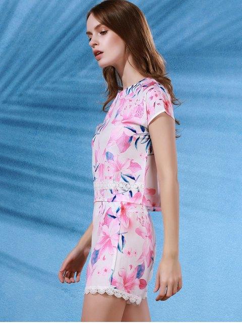 women's Floral Print Crop Top + Lace Trim Shorts Twinset - COLORMIX XL Mobile