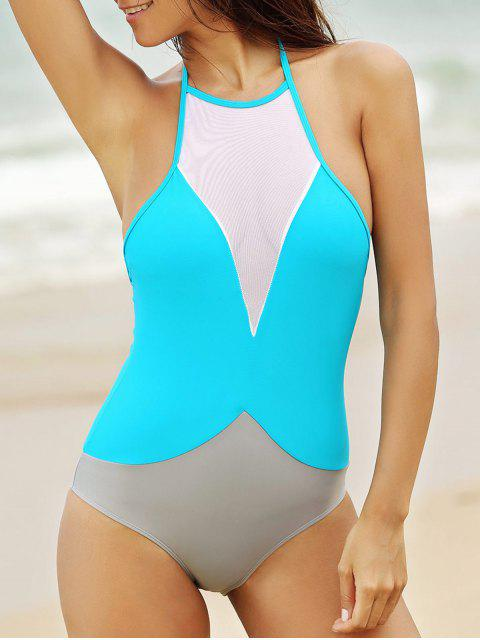 See-Through High Neck One Piece Bademode - Helles Blau S Mobile