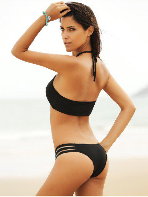 ladies Mesh Panel Halterneck Bikini Set - BLACK L Mobile