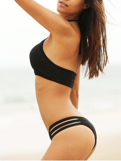 women's Mesh Panel Halterneck Bikini Set - BLACK M Mobile