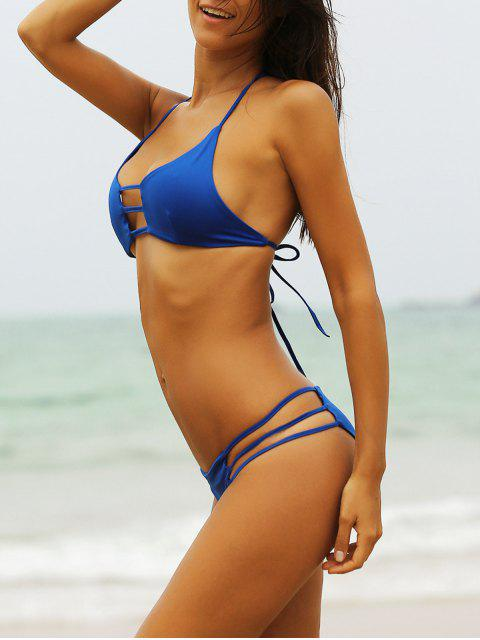 affordable Hollow Solid Color Halterneck Bikini - BLUE L Mobile