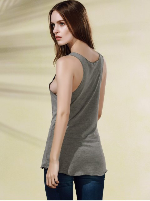 women Scoop Neck Letter Print Tank Top - GRAY L Mobile