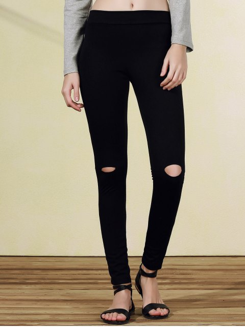 fashion Ripped Casual Black Narrow Feet Pants - BLACK 2XL Mobile