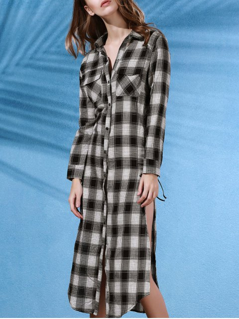 latest Plaid Flannel Shirt Dress with Pocket - WHITE AND BLACK L Mobile