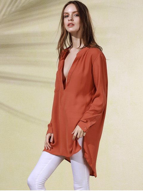 affordable High-Low Plunging Neck Long Sleeve Dress - BRICK-RED L Mobile