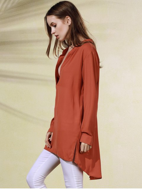 unique High-Low Plunging Neck Long Sleeve Dress - BRICK-RED S Mobile