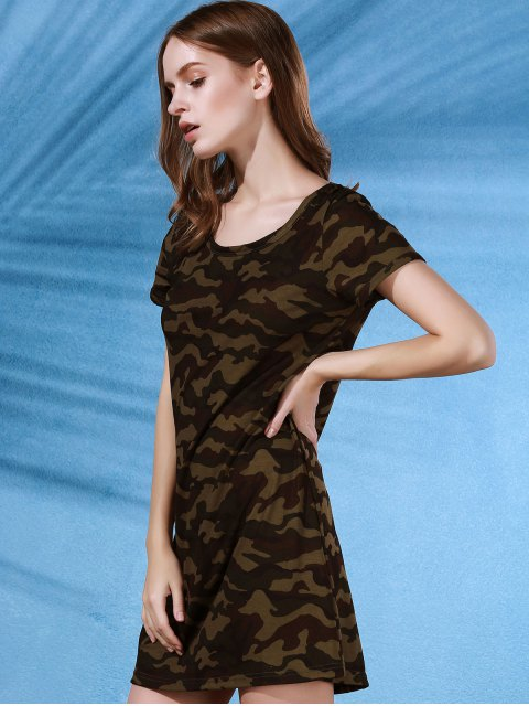 unique Camouflage Print Scoop Neck Short Sleeve Dress - COLORMIX L Mobile