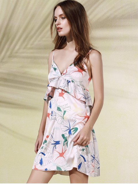 outfits Floral Print Flounce Ruffles Cami Sleeveless Dress - PINK 2XL Mobile