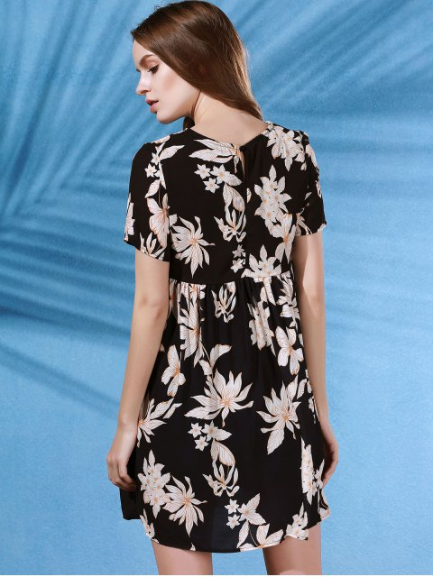latest Round Collar Flower Print Short Sleeve Dress - BLACK S Mobile