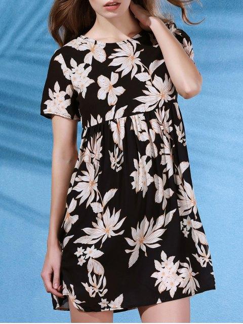 fashion Round Collar Flower Print Short Sleeve Dress - BLACK L Mobile