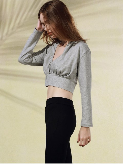 trendy Plunging Neck Long Sleeve Crop Top - GRAY XL Mobile