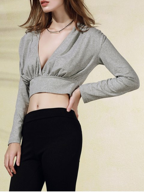 latest Plunging Neck Long Sleeve Crop Top - GRAY L Mobile