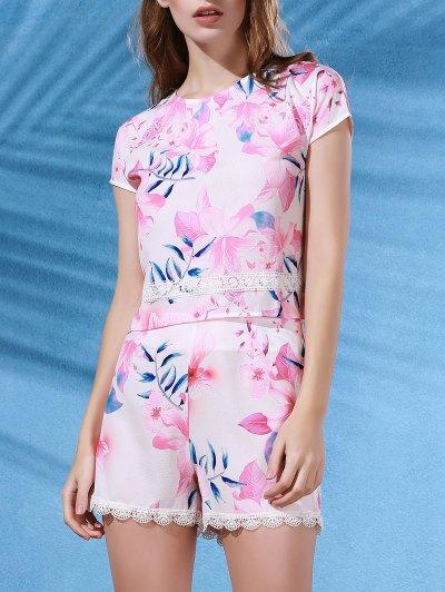 Floral Print Crop Top   Lace Trim Shorts Twinset