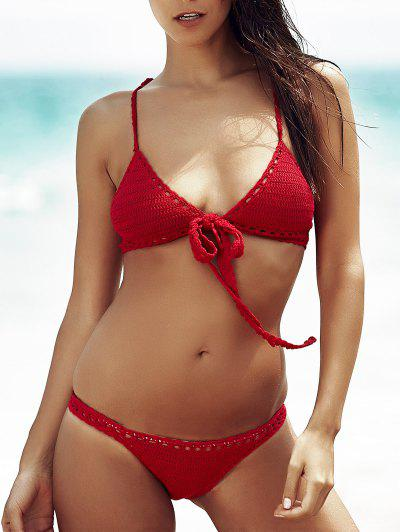 Women's Stylish Wine Red Hollow Out Bikini - Claret L