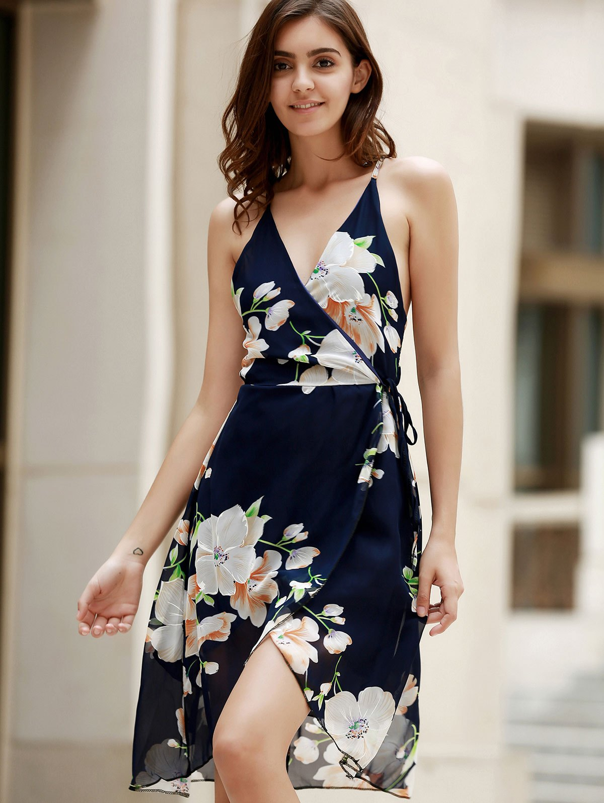 Flower Print Plunging Neck Crossed Dress