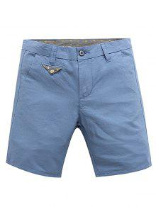 Casual Cremallera Y Pantalones Cortos De Verano Color Sólido Para Los Hombres - Azul Claro 34