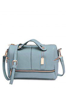 Buy Zip Pendant Solid Color Tote Bag - BLUE