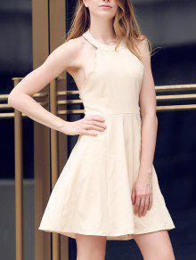 Semi Formal Halter A Line Dress - Beige Xl