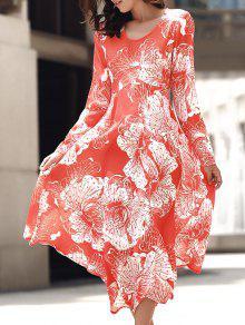 Vestido Largo Recortado Con Cuello Redondo Y Manga Larga - Naranja L