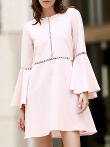 Loose Cut Out Round Neck Flare Sleeve Dress - Pink M