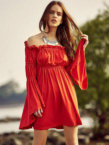Cold Shoulder Bell Sleeve Red Dress