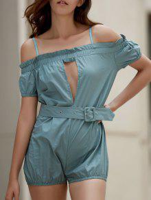 Off The Shoulder Cami Solid Color Romper - Blue M