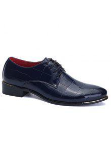 العصرية النقش وبراءات الاختراع والجلود تصميم أحذية رسمية للرجال - ازرق غامق 44