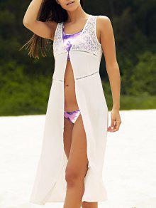 Combined Lace Sleeveless Chiffon Blouse - White 2xl