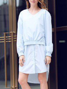 Solid Color Spliced V-Neck Long Sleeve Shirt Dress - Light Blue L
