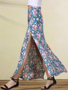 High Slit Rose Print Skirt - Blue M