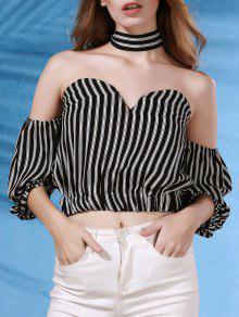 Off The Shoulder Striped Strapless Flare Sleeve Blouse - Black L