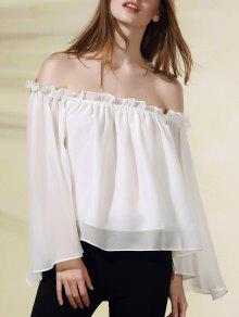 Solid Color Flare Sleeve Off The Shoulder Chiffon Blouse - White M