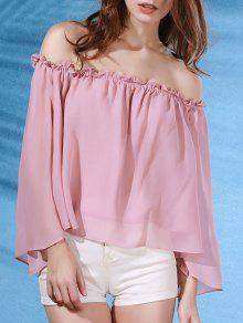 Solid Color Flare Sleeve Off The Shoulder Chiffon Blouse - Pink L