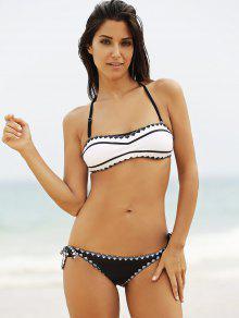 f73ed842f 24% OFF  2019 Negro Y Blanco Sin Tirantes Del Bikini Set En Blanco ...