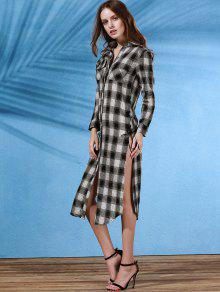 Plaid Flannel Shirt Dress with Pocket