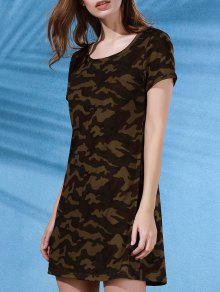 Camouflage Print Scoop Neck Short Sleeve Dress - L