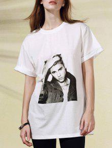 T-shirt Figure Motif Col Rond Manches Courtes - Blanc 2xl
