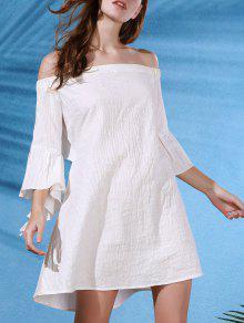 فستان قطع الظهر بلا اكتاف فراشة الأكمام - أبيض L