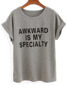 Rolled Sleeve Lettering T-Shirt - Gray M