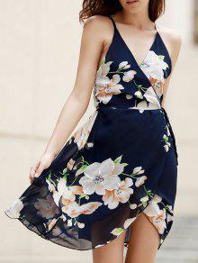 Plunge Crossed Flower Print Dress - Purplish Blue S