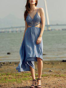 الرباط تقسم ارتفاع منخفض كامي فستان بلا أكمام - البحيرة الزرقاء S
