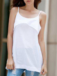 Buy White Flounce Ruffles Spaghetti Straps Tank Top - WHITE XL
