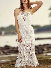 فستان عارية الظهر حزام السباغيتي شبكي الدانتيل  - أبيض Xl