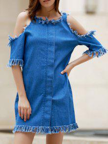 Cut Out Frayed Denim Dress - Blue 3xl