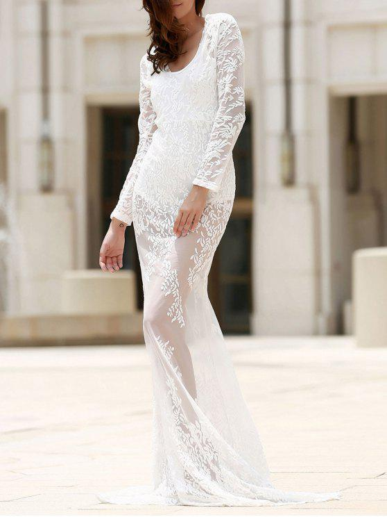 fancy Maxi Sheer Lace Prom Dress - WHITE S