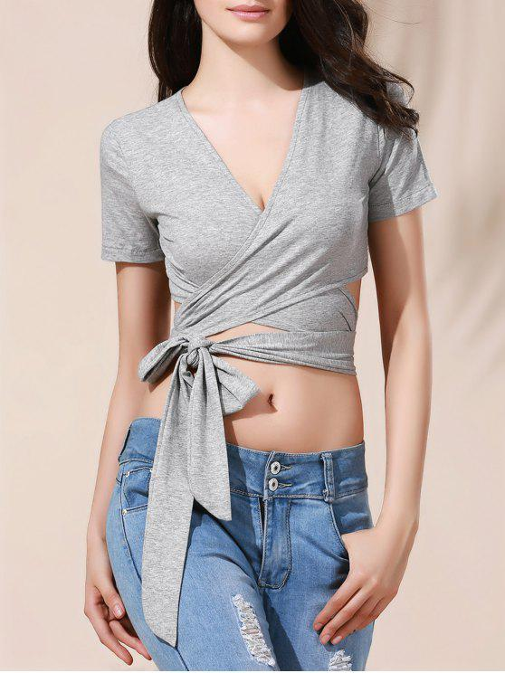 ladies Solid Color Plunging Neck Wrap Cropped T-Shirt - BLUE GRAY M