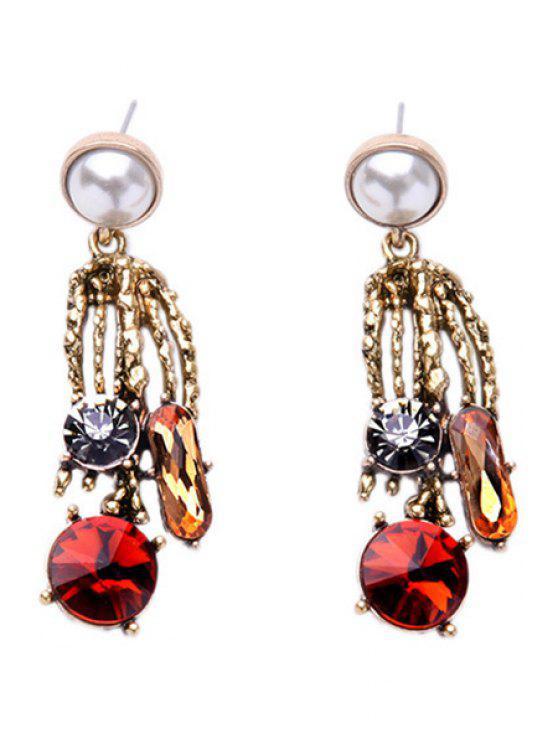 Diamantes de imitación de imitación de la perla pendientes simples - Dorado