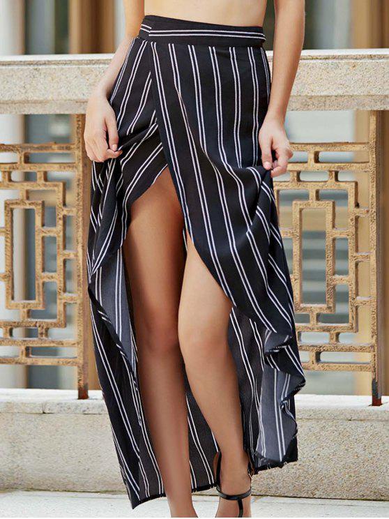chic Stripe High Waist High Low Skirt - BLACK S