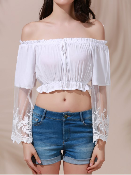 fashion White Lace Spliced Flare Sleeve Off The Shoulder Crop Top Belly Shirts - WHITE M