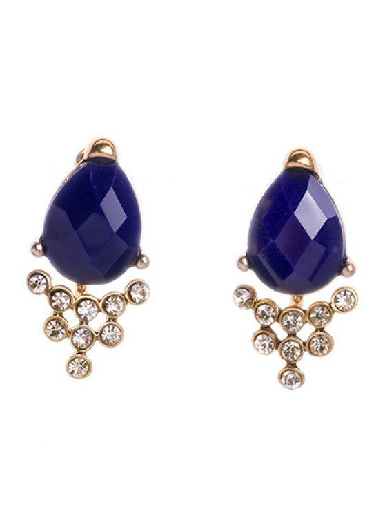 fancy Faux Sapphire Rhinestone Earrings - DEEP BLUE